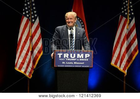 Saint Louis, MO, USA - March 11, 2016: Donald Trump smiles to supporters at the Peabody Opera House in Downtown Saint Louis