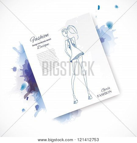 Vector fashion model. Vector sketch silhouette. Vector vintage lady. Dress pencil sketch. Vector fashion outline. Vector style lady. Vector fashion girl. Watercolor fashion paint.