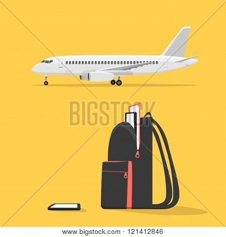 Backpack with electronics on the background of the aircraft. The plane on the runway. Outdoor backpack. Isolated objects