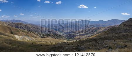 Mountain Landscape With Serpentine Road. The View From Top Of Vardenyats Pass (selim Pass), Armenia