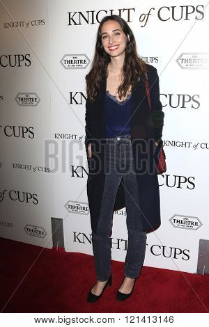 LOS ANGELES - MAR 1: Rebecca Dayan attends the Premiere of Broad Green Pictures' 'Knight of Cups'  at The Theatre at Ace Hotel on March 1, 2016 in Los Angeles, California