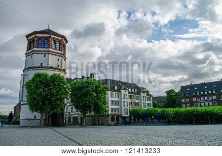 Dusseldorf Historic Center With Old Castle Tower In Dusseldorf, Germany