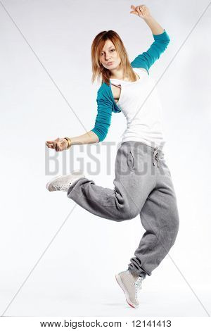 Teenage girl dancing hip-hop studio series