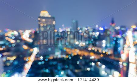 Night view blurred light bokeh, city downtown background