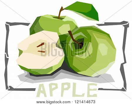 Vector Simple Illustration Of Fruit Green Apples.