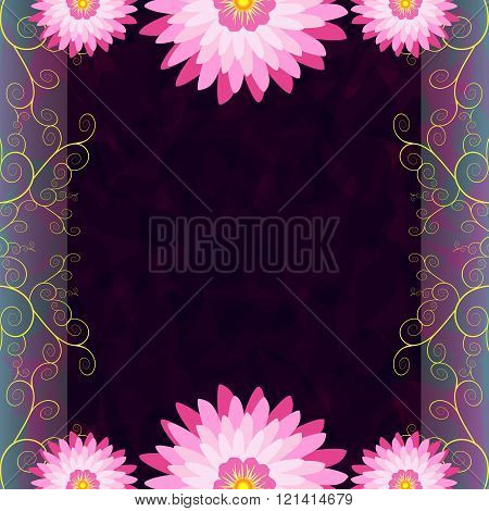 Vintage Invitation Or Greeting Card With Flowers