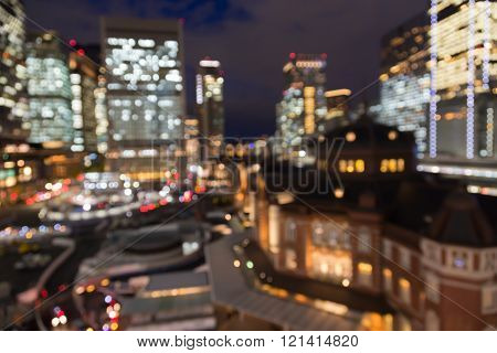 Abstract blurred bokeh lights background Tokyo central station