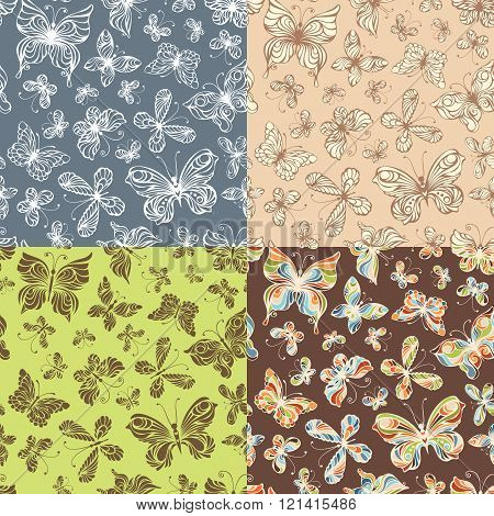 Set Of Seamless Patterns Of Butterflies.