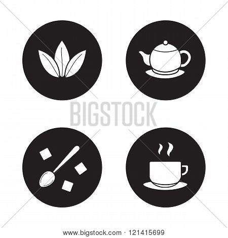 Tea items simple icons set