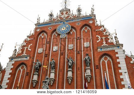 House of the Blackheads and the St. Peter's Church in Riga Latvia.