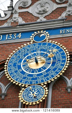 Detail of astronomical clock on the House of Blackheads Riga Latvia.