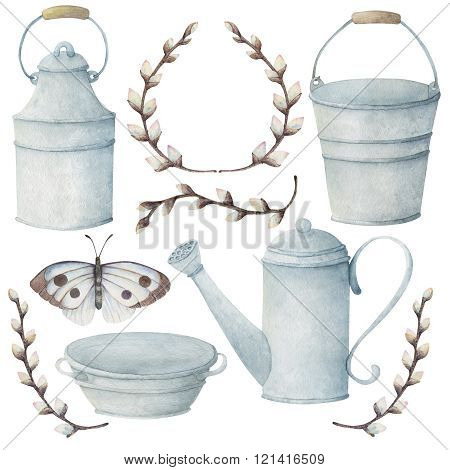 Garden tools with butterfly and brunches of willow painting with watercolors on the white background.
