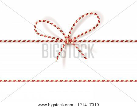 Christmas gift tying: bow-knot of red and white twisted cord. Vector illustration, eps10.