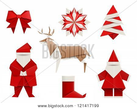 Realistic origami, Christmas set: Santa, deer, christmas tree, snowflake and so. Vector illustration