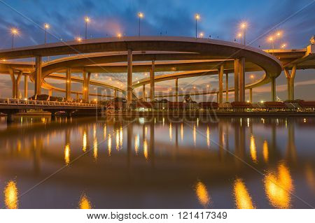 Twilight over  Industrial Ring Road Bridge water front