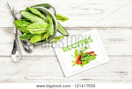 Salad Vegetables Recipe Book Tablet Pc Internet Cook Book