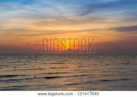 Beautiful skyline over seacoast