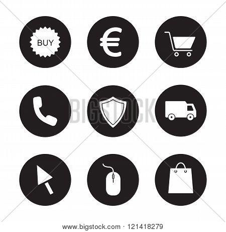 Online store black icons set