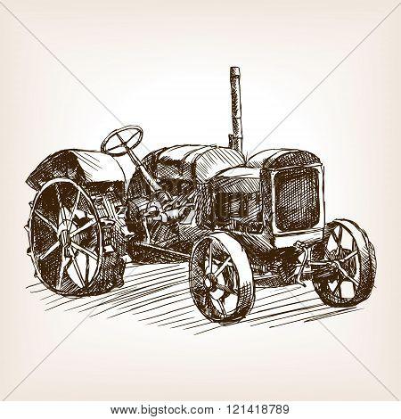 Tractor hand drawn sketch vector