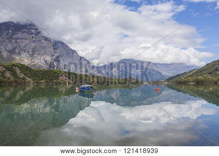 Boats on the Lago de Cavedine Trentino Italy