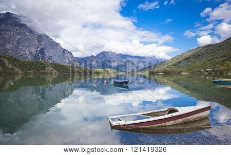 Boats on the Lago de Cavedine Trentino Italy ** Note: Visible grain at 100%, best at smaller sizes
