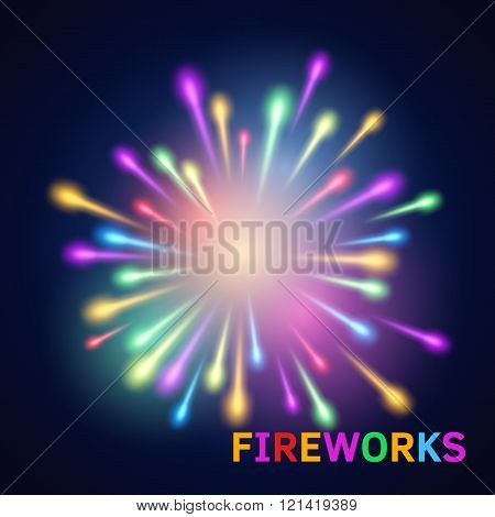 Fun multicolor fireworks on dark blue background. Vector salute. Party petard explosive.
