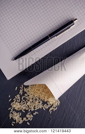 Rice, Notebook, Dark Board.