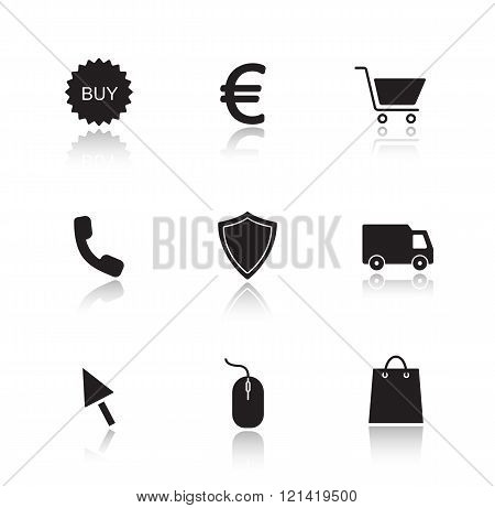 Online marketing drop shadow icons set