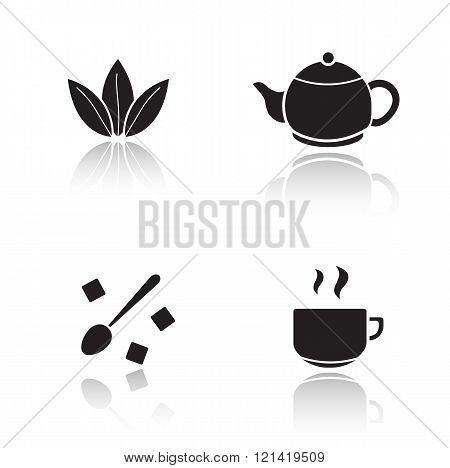Tea accessories drop shadow icons set