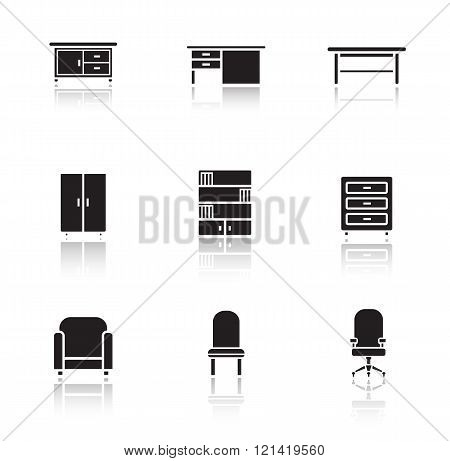 Furniture black icons set