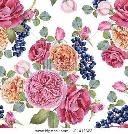 Floral seamless pattern with watercolor roses and black rowan berries.