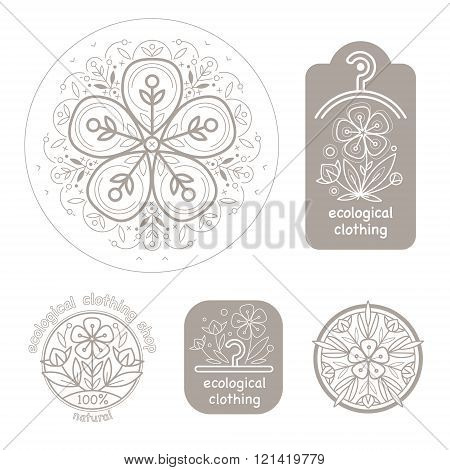 Vector set template label style of organic design with image decorative flower flax. Organic vector. Modern illustration for stores of organic clothing organic textiles organic stuff for children.