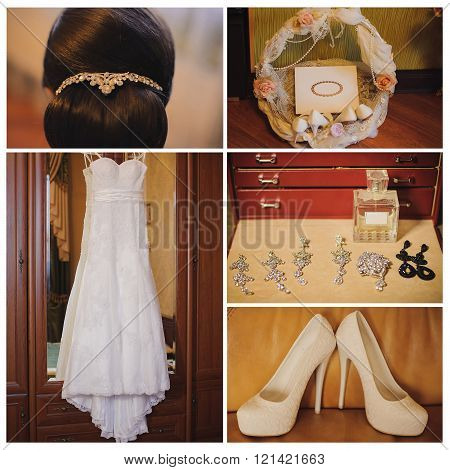 Bride's morning. Wedding accessories on wooden background.