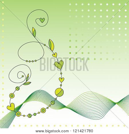 Green Background With Curl And Leaves