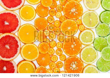 Fruit Citrus Background. Top View.