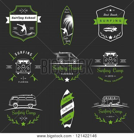 Set of vector logos and badges surfing camping hiking and outdoor activities. The collection of symbols and emblems surf clubs surf schools rental camping and beaches