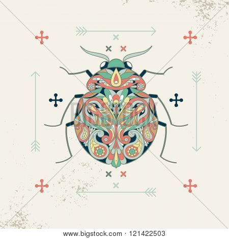 Decorative composition beetle arrow. Hipster insect beetle. Vector illustration beetle for print on T-shirts posters billboards banners labels stickers covers packaging. Vintage style.