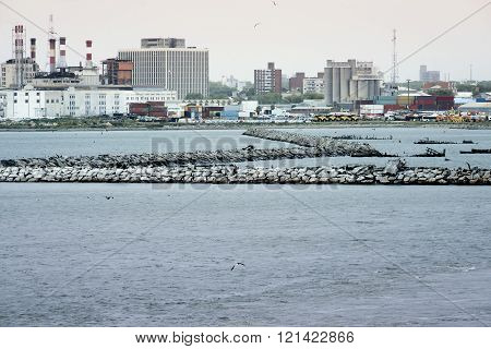 View to the port of Montevideo, Uruguay