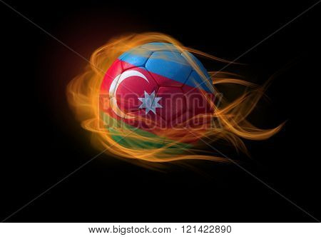 Soccer Ball With The National Flag Of Azerbeijan, Making A Flame.