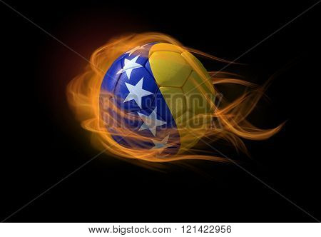 Soccer Ball With The National Flag Of Bosnia, Making A Flame.