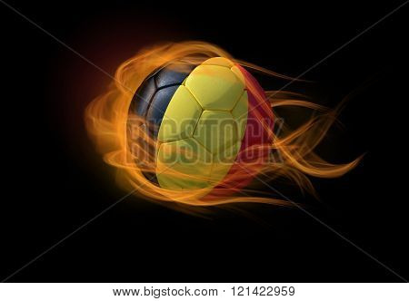 Soccer Ball With The National Flag Of Belgium, Making A Flame.