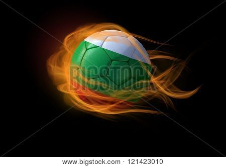 Soccer Ball With The National Flag Of Bulgaria, Making A Flame.