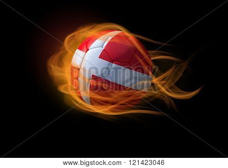 Soccer Ball With The National Flag Of Denmark, Making A Flame.