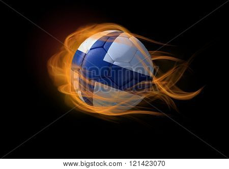 Soccer Ball With The National Flag Of Finland, Making A Flame.