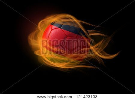 Soccer Ball With The National Flag Of Germany, Making A Flame.