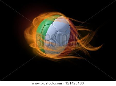 Soccer Ball With The National Flag Of Italy, Making A Flame.