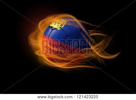Soccer Ball With The National Flag Of Lichtenstein, Making A Flame.