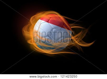 Soccer Ball With The National Flag Of Luxembourg, Making A Flame.