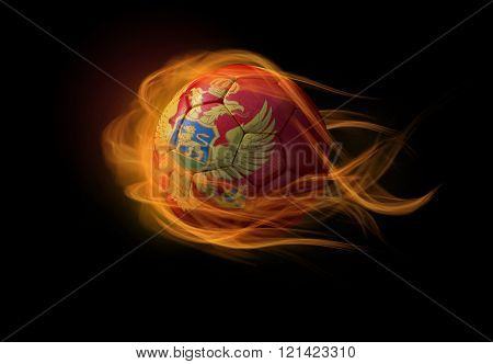 Soccer Ball With The National Flag Of Montenegro, Making A Flame.