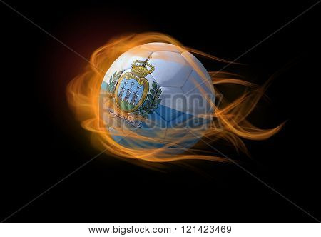 Soccer Ball With The National Flag Of San Marino, Making A Flame.